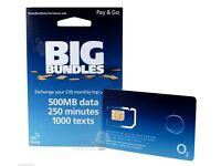 02 prepay pay as you go SIM Card trio sim size o2 sim - (buy 1 get 1 free)