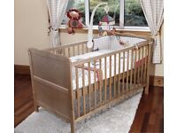 Pine Cot Bed with Foam Mattress