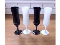 4 x Crystal Champagne Flutes