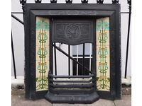 SOLD Victorian Tiled Arts & Crafts Style Cast Iron Fireplace.
