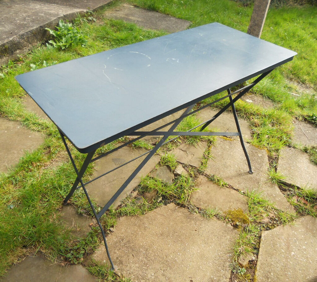 Folding Metal Kitchen, Patio, Garden Table   Desk Or Work Table