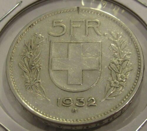 1932 Swiss 5 Francs 83.5% Silver Coin - Switzerland