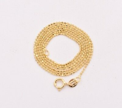 1mm Round Diamond Cut Bead Ball Chain Necklace Real Solid 14K Yellow Gold - Gold Bead Necklaces