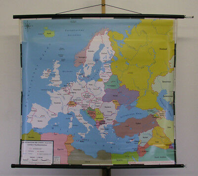 Schulwandkarte the European Union Nachbarstaaten 124x114 2004 Vintage Map Eu