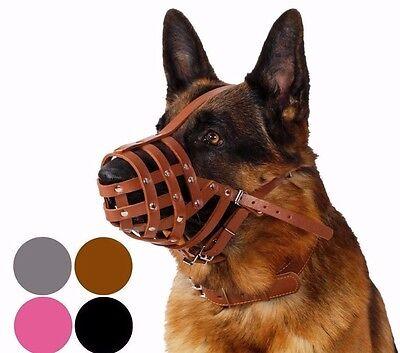 - German Shepherd Dog Muzzle Secure Leather Basket Medium Large Breeds