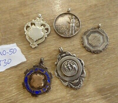 QUALITY LOT OF 5 ANTIQUE SILVER POCKET WATCH CHAIN FOBS / MEDALS