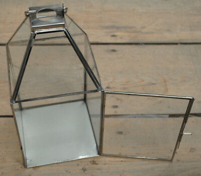 Hanging Lantern Shiny Silver Metal Square Glass Display Tea Light Candle Holder