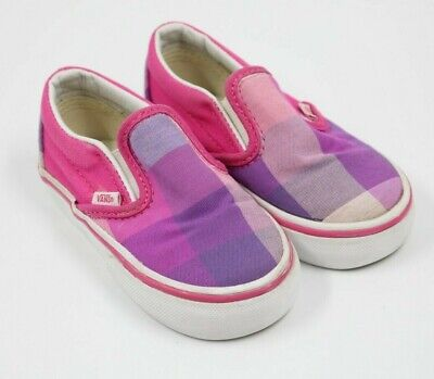 VANS Toddler Girl Pink Plaid Canvas Slip On Sneakers Shoes Size 6