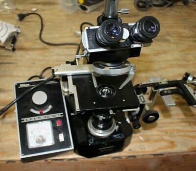 Nikon Microscope With Prior 67103 Attachment Transformer Objectives