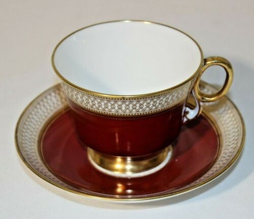 Adderley Fine Bone China, England Tea Cup & Saucer Pink & Burgundy w/ gold trim