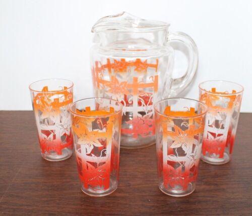 Vintage Hazel Atlas Pitcher & 4 matching glasses Orange, Red & White Flowers