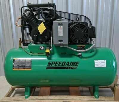 Speedaire 35wc56 Horizontal Tank Air Compressor 2 Stage 15hp 50cfm 3 Phase 120ga