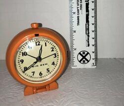 Big Ben Battery Operated Travel Alarm Clock / Orange In Color