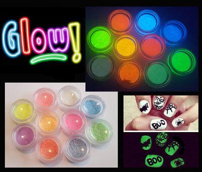 Nail Art Glow in the Dark UV Fluorescent Pigment Powder Acrylic Gel Polish