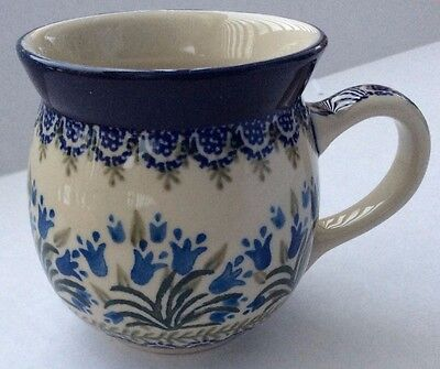 NEW C.A. Polish Pottery 16 oz Bubble Mug-Blue Bells