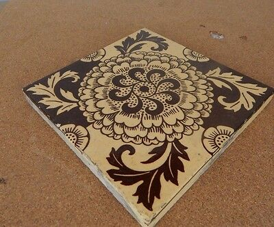 Mintons China works Stoke On Trent Chrysanthemum  Beige Brown tile 2