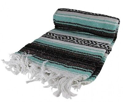 "Authentic Teal Mexican Blanket Hand Woven 73"" X 48"""