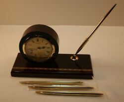 Seiko/Kane Executive Desk Set Clock and Pen Mahogany Finish QXG326BLH Vintage
