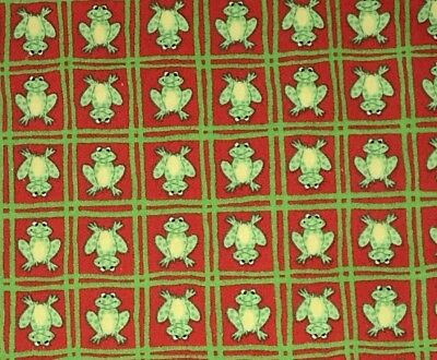 1/2 Yd Frog Squares Red Green BTHY Cotton Quilt Fabric by Oakhurst Textiles for sale  Amarillo