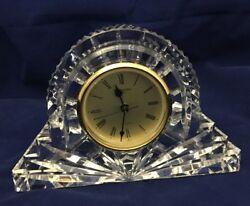 WATERFORD CUT CRYSTAL CRYSTAL MANTEL CLOCK DESK SHELF QUARTZ LISMORE 7 WIDE