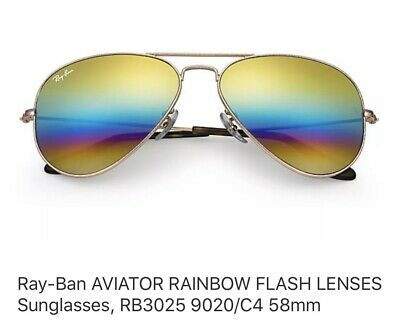 Ray Ban Aviator RainBow Flash Lens  3025 9020/C4 (Ray Ban Aviator Color Lenses)