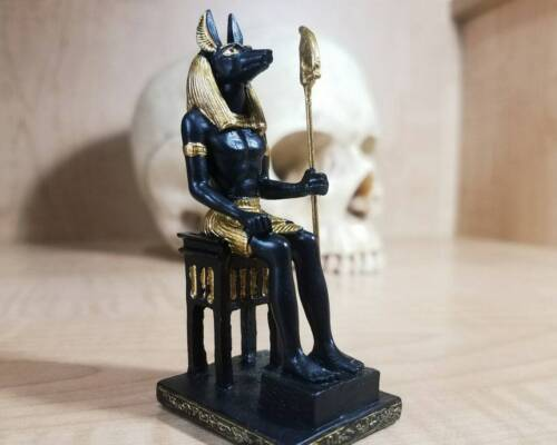 Anubis on Throne, Egyptian God of Death and Embalming, Mini Statue 3.5 Inches