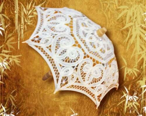 "10.75"" or 12"" Mini Decorative Ivory Lace Parasol, Lace Umbrellas"