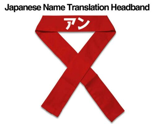 Red Japanese Name Translation Headband, Karate Martial Arts Head Band