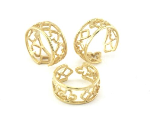 Adjustable Ring Gold Plated Brass (16.5mm 6US inner size ) 1694