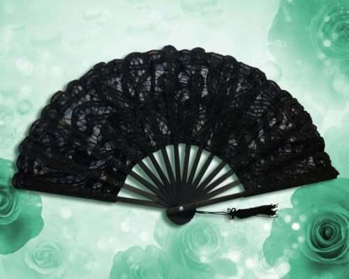 Black Battenburg Lace Fan, Lace Fans for Wedding