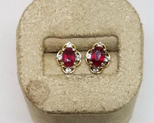 """STS Chuck Clemency Sterling Silver Rhodolite Garnet Zircon Stud Earrings ~ 1/2"""""""