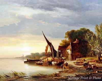River Boat Sunrise Art - Early Morning on Thames by G A Williams 8x10 Print 0505