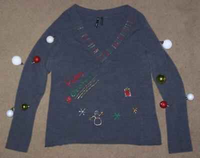 Ugly Christmas Decorations (UGLY CHRISTMAS SWEATER, WOMEN'S SMALL, TAKE OUT, HOMEMADE DECORATIONS,)