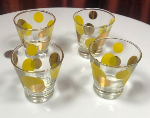 Russel Wright Eclipse Shot Glasses Yellow & Gold NICE SET OF FOUR !