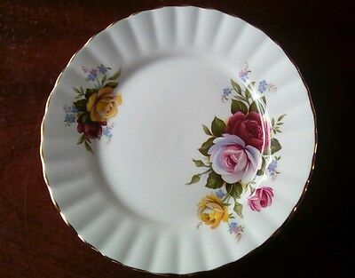 Royal Stafford Bone China, Pink & Yellow Roses Side/Tea Plates x 6