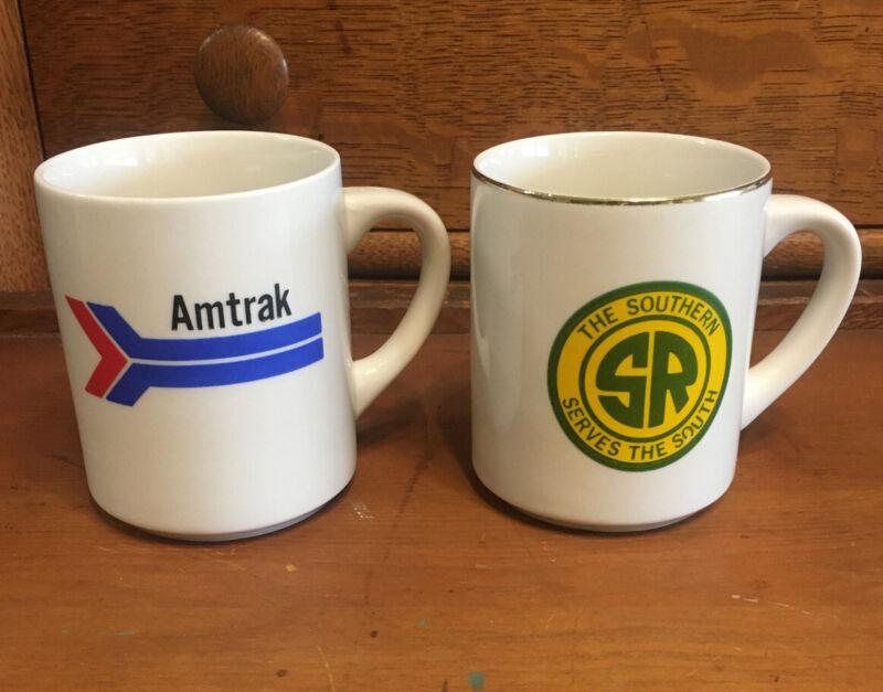 Vintage Pair Of Railroad Mugs Amtrak Southern Railroad