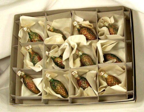 Box of 12 Glitter Dark Pine Cones Blown Glass Christmas Tree Ornaments Poland