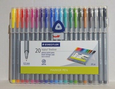 Staedtler Triplus Fineliner 20 Pack Pens Assorted Colors 0.3 Mm-new