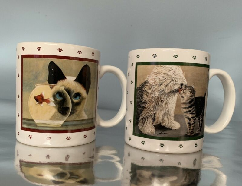 Set Of 2 RARE 1986 VINTAGE LOWELL HERRERO VANDOR Collectible Cups & Dog And Cat