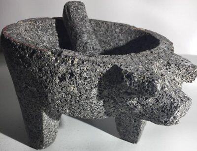 Molcajete Tejolote Authentic Mexican Mortar  Pestle Guacamole Salsa Maker 9  Pig