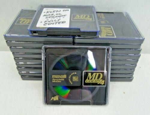 Maxell MiniDisc Lot of 20 Rewritable 74-minute MD74 Gold Mini Disc Used Blanks