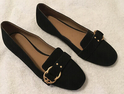 """Tory Burch Black Suede Flats with Gold """"T"""" Buckle (US 8M)"""