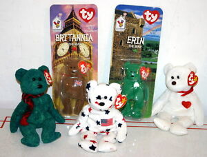 Lot-of-5-Ty-Beanie-Babies-Bears-Valentino-101-Wallace-Glory-2-Minis-NIP