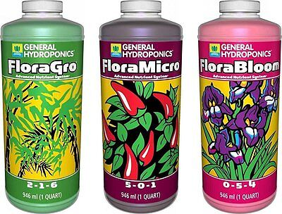 General Hydroponics Flora Grow  Bloom  Micro Combo Fertilizer Set  1 Quart