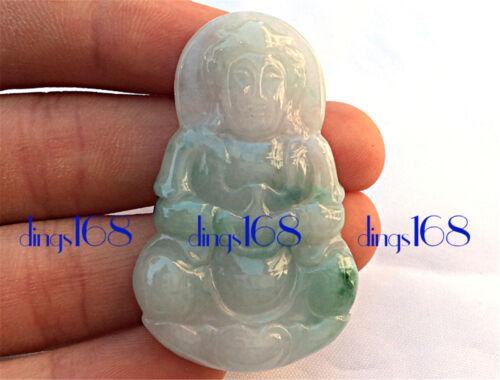 Natural Genuine A Jadeite Jade Icy Green Kwan Yin Lady Buddha Pendant Gift JD05