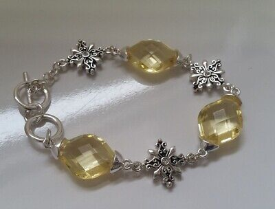 Silver-tone filigree floral pattern Yellow crystals linked Bracelet  Z9in-1/22