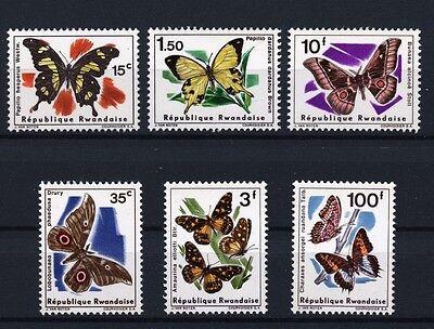 Butterflies mnh set of 6 stamps 1966 Rwanda