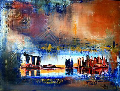 BURGSTALLER ORIGINAL Bild Painting Malerei Kunst Leinwand Skyline Stadt SINGAPUR