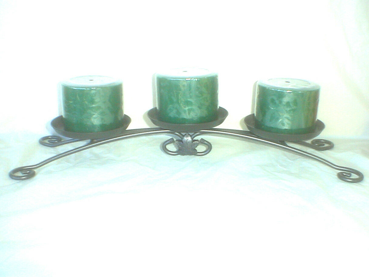 Wrought iron candle holder 3 christmas pine for Christmas pillar candle holders