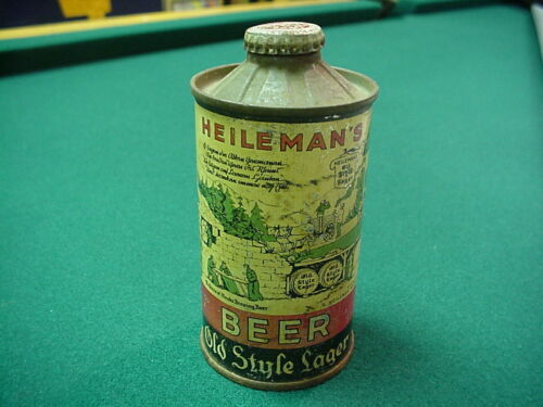 Vintage Heileman's Old Style Lager Low Profile Flat Bottom Cone Top Beer Can, WI